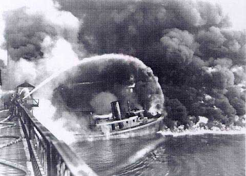 Image result for cuyahoga river fire