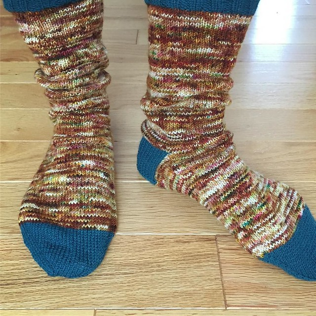 Kansas City socks. Knit to/from KC. Creatively Dyed Yarn with contrasting cuffs, heels and toes. #sockknitting #knitting