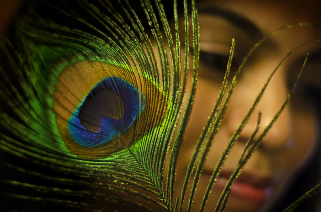 peacock feather portrait portrait shot of a girl with p flickr