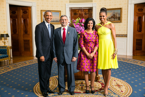 President Barack Obama and First Lady Michelle Obama Greet His Excellency Jorge Carlos de Almeida Fonseca, President of the Republic of Cabo Verde, and Mrs. Lígia Arcangela Lubrino Dias Fonseca | by U.S. Department of State
