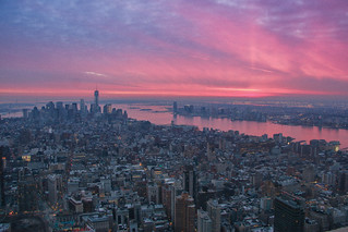 Sunset from the Empire State Building, looking out to the Freedom Tower | by Scott_Keenleyside