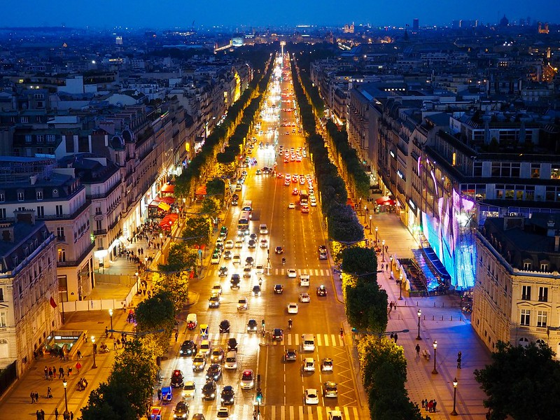 Urban Environments - late evening activity on the Avenue des Champs-Élysées - taken from the Arc de Triomphe, Paris, France