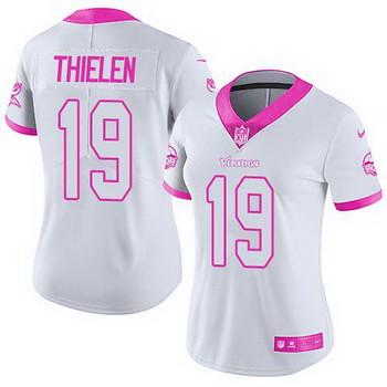 reputable site f8487 e65a7 Nike Vikings #19 Adam Thielen White Pink Women's Stitched ...