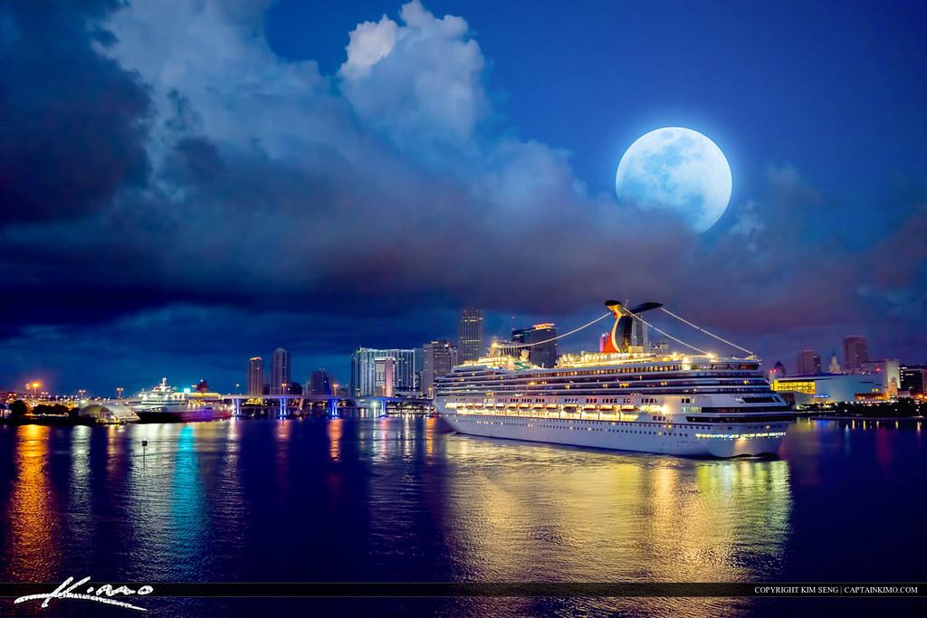 Miami Skyline And Cruise Ship Moon Set Port Of Miami Flickr - Cruise ship port in miami