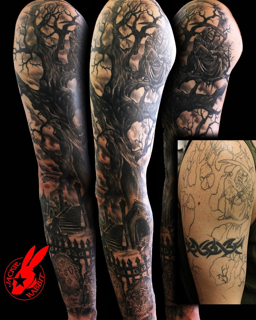 Graveyard Reaper Tree Sleeve Cover Up Tattoo By Jackie Rab Flickr