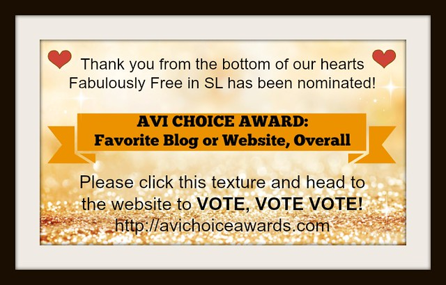 We've Been Nominated - Avi's Choice Award!