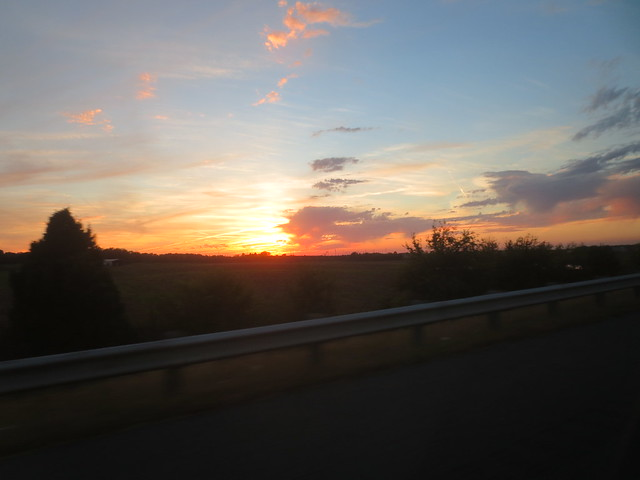 Sunset along the road
