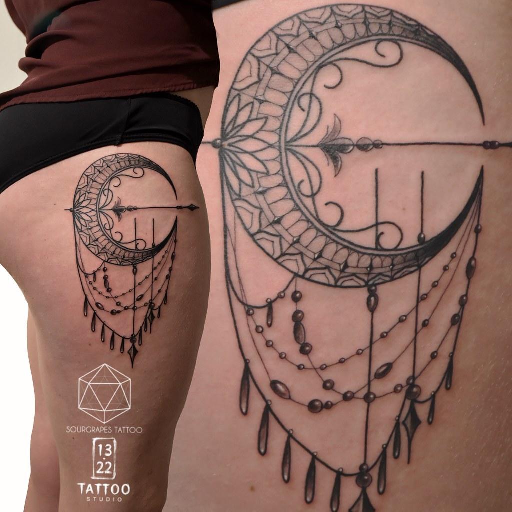 Crescent Moon Geometric Tattoo Sourgrapes Tattoo 1322 Tat Flickr