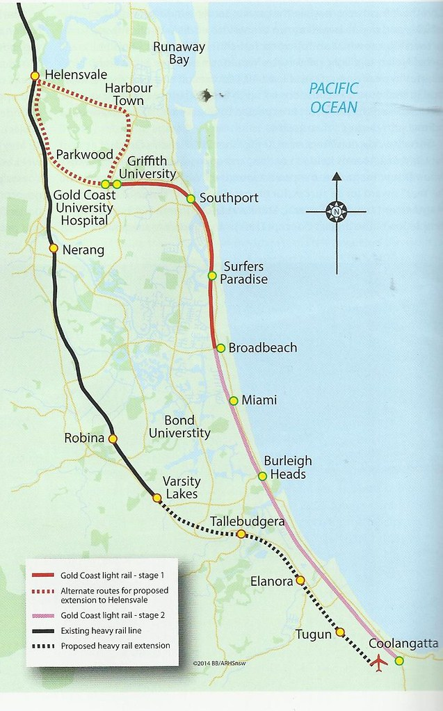 Map of the Gold Coast light rail line John Coyle scan Flickr