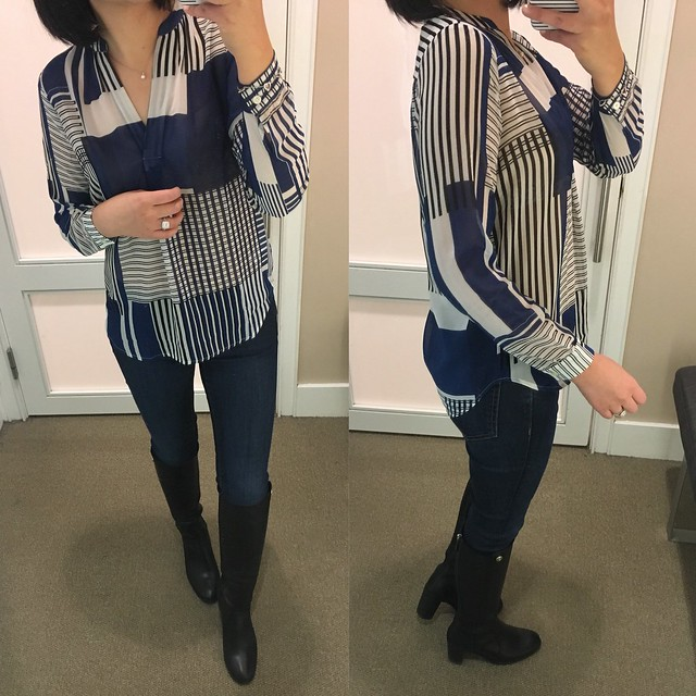 Stripeout Split Neck Blouse, size XXSP