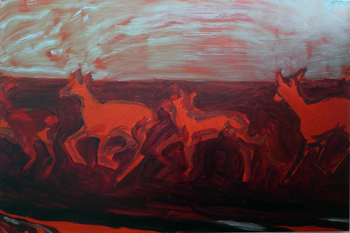 (Infra)Red Herd (2014)   o/c 20x30 inches | by Joy Garnett (archive)