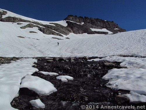 A stream breaks through the snow on the Ptarmigan Ridge Trail, Washington