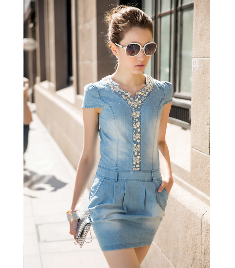 Summer New Women Dress V-neck Denim Dress Women Denim Skir…  Flickr