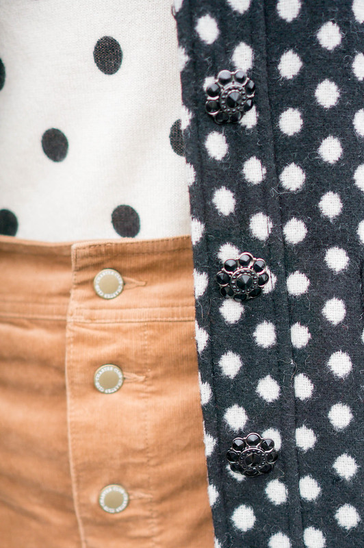 polka dot sweater + polka dot coat + tan corduroy skirt + tights + heels | Style On Target blog