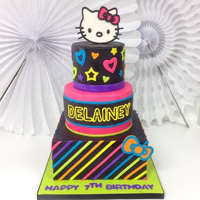 Delaineys neon hellokitty birthdaycake neonkitty Flickr