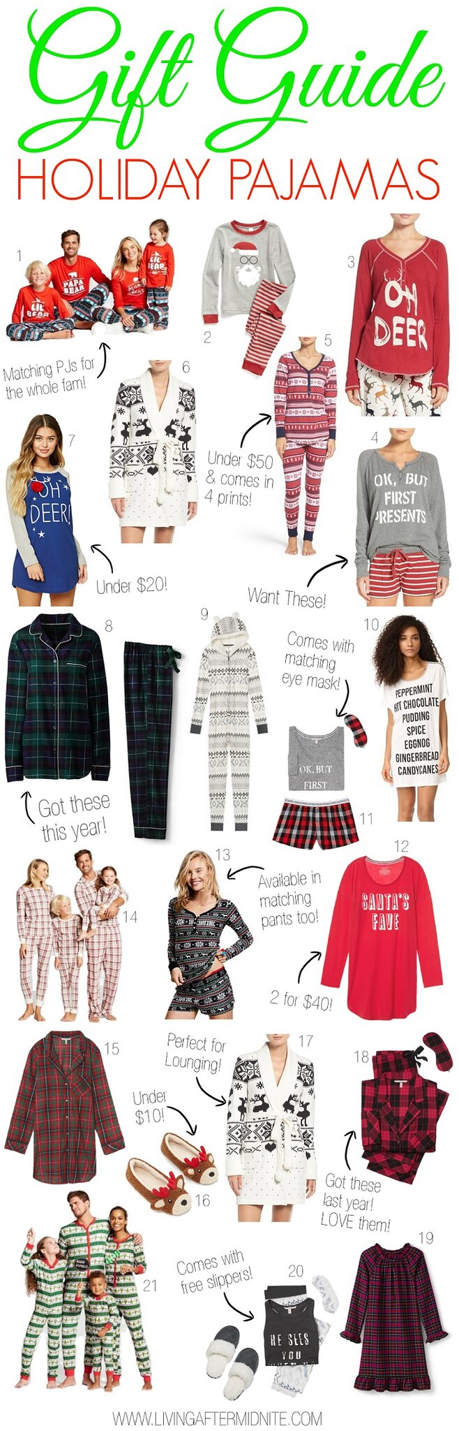 Gift Guide: Holiday Pajamas for the Whole Family | Christmas Presents