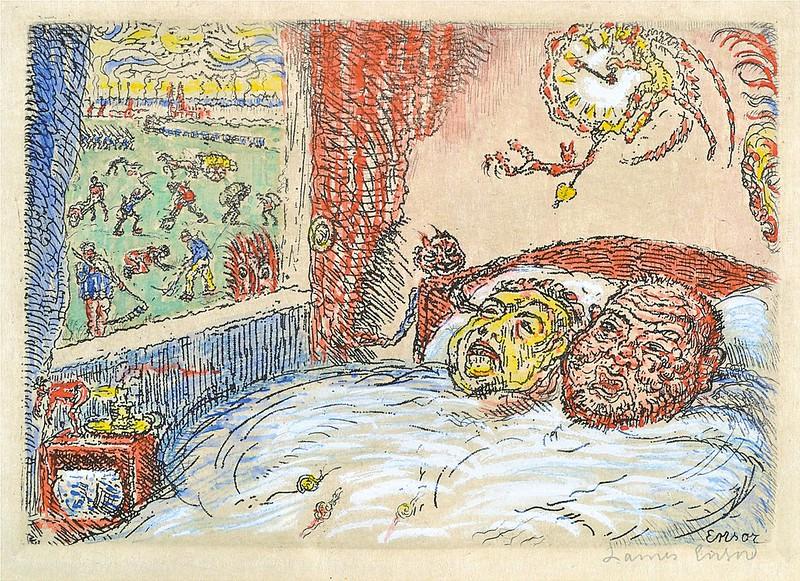 James Ensor - Sloth (La Paresse) from The Deadly Sins (Les Péchés capitaux) colored, 1902