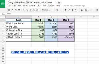 Copy of BreakoutEDU Current Lock Codes   Google Sheets | by Mr.ChrisAtkinson