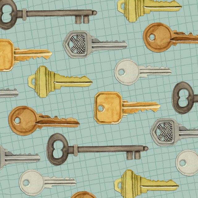 Today's #PatternJanuary theme of #keys reminded me of a pattern I made to (iron-on) print on fabric, ages ago. I used a bunch of clip art keys. I loved the pattern but always felt bad that I had just used clip art. Today was my chance to make a pattern wi
