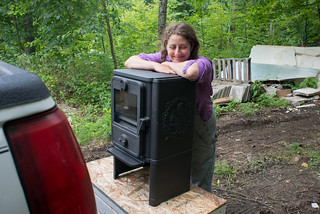 Happy Tara with New Morso 1440 Woodstove | by goingslowly