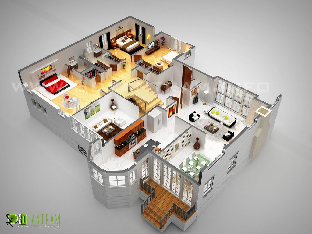 ... Dream Home 3D Floor Plan Design France | By Yantram Architectural  Rendering U0026 3D Walkthrough