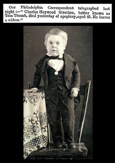"15th July 1883 - Death of ""Tom Thumb"" (Charles Heywood Stratton) 