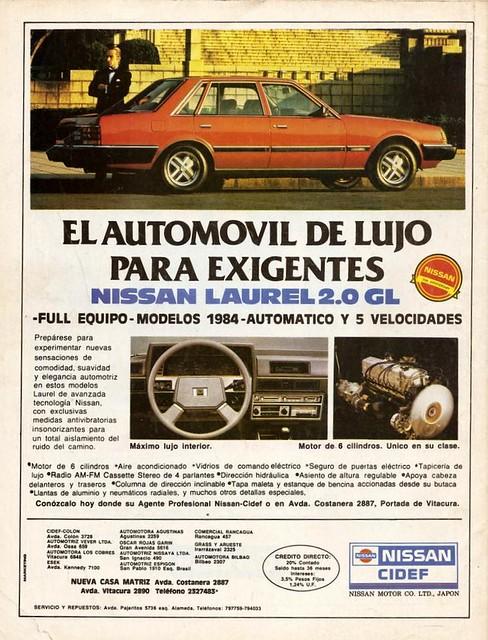 Nissan Laurel 2.0 GL 1984 Chile ad (Ercilla 1984 Enero 21 al 25)