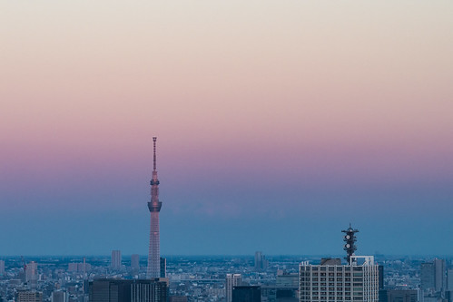 Taken with a telephoto lens the Tokyo Sky Tree from the Tokyo Metropolitan Government Office