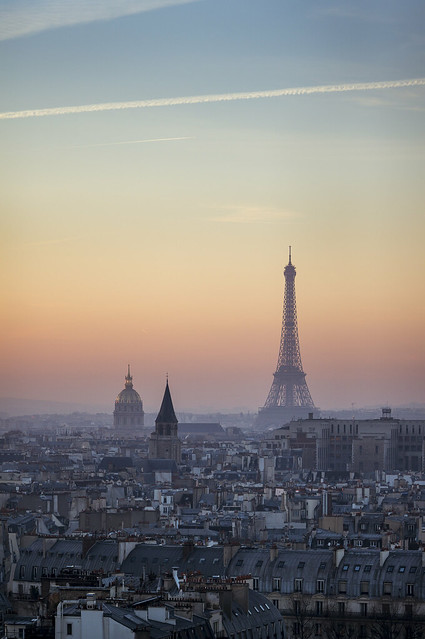 Paris, sunset on the Eiffel Tower viewed from Notre-Dame de Paris rooftop