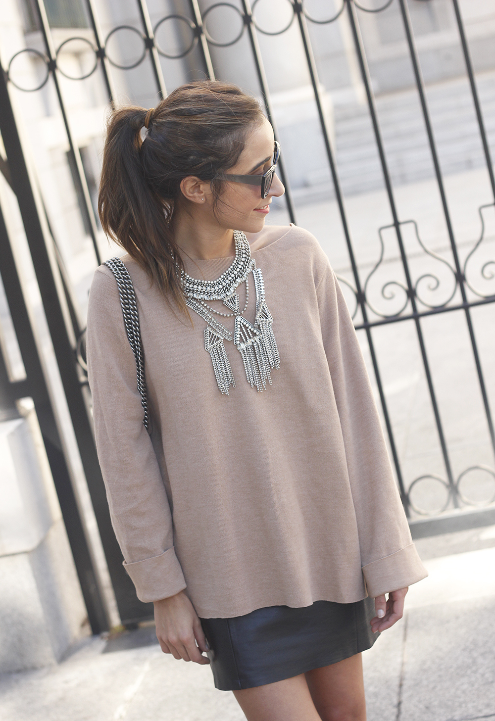 nude sweater leather skirt heels sunnies gucci bag fashion outfit style19