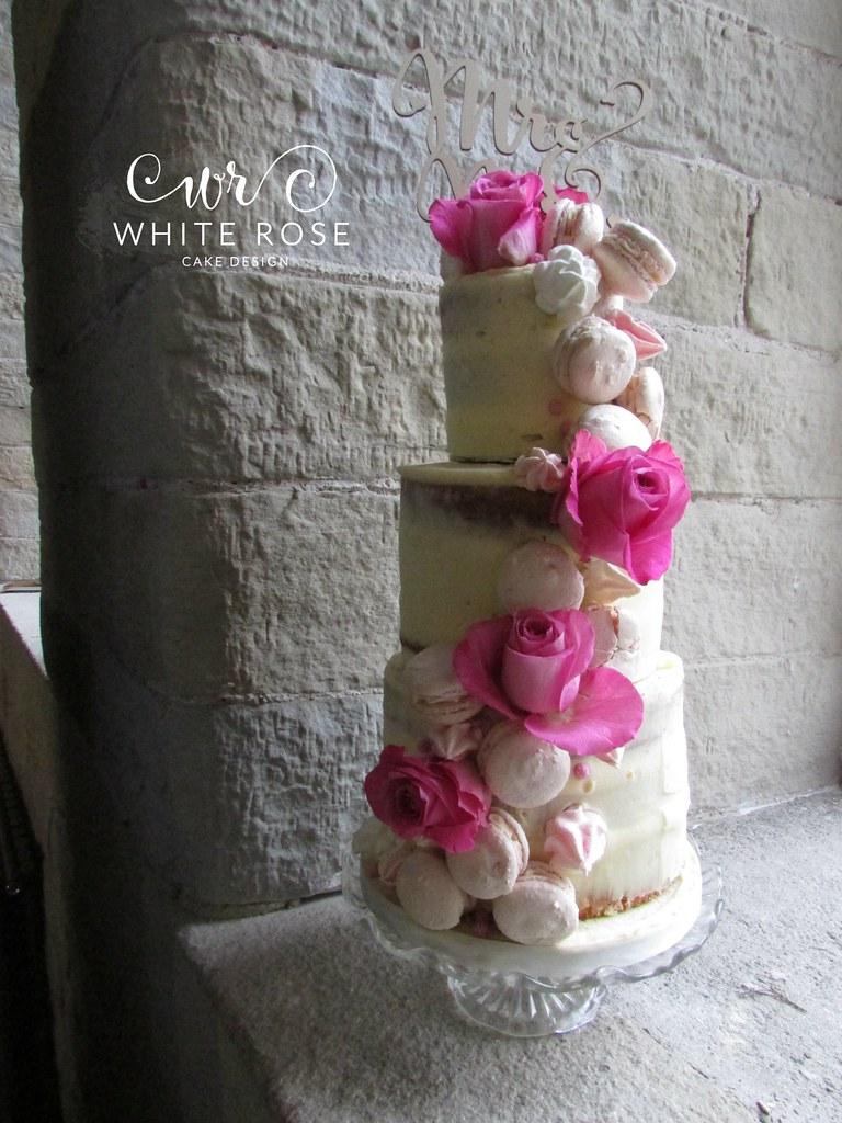 Three Tier Semi Naked Wedding Cake With Fresh Flowers Mac Flickr
