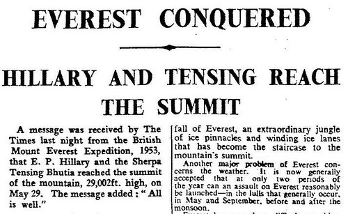 29th May 1953 - Hilary & Tensing reach the summit of Mount Everest | by Bradford Timeline