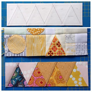 At the top you see the paper foundation I drew for the little roofs from diagram 11. At the bottom the result and the part it will be sewn onto. #mysmallworldqal | by Muriël (doucepoints)