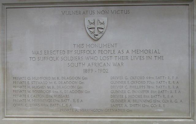 Bury St Edmunds Boer War Memorial Dedication