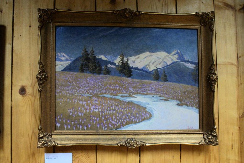 Paysage de montagne lorsqu'en mars les crocus craquent les champs encore partiellement enneigés.