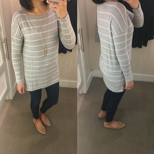 Lou & Grey Striped Signaturesoft Boatneck Tunic, size XS regular