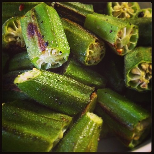 For anyone who doesn't like okra because it's slimy, chop those suckers up and roast them. They're like little healthy okra-cheetos now. Yumyumyum. | by LenaLandmine