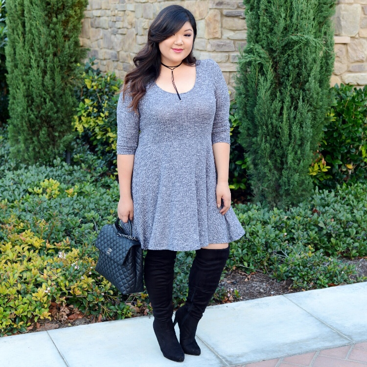 Curvy Girl Chic Plus Size Fashion Blog How to Style Wide Calf Over The Knee Boots Plus Size Sweater Dress