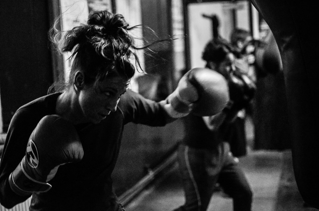 Female boxer training in bristol boxing gym may 2014 by sophie merlo