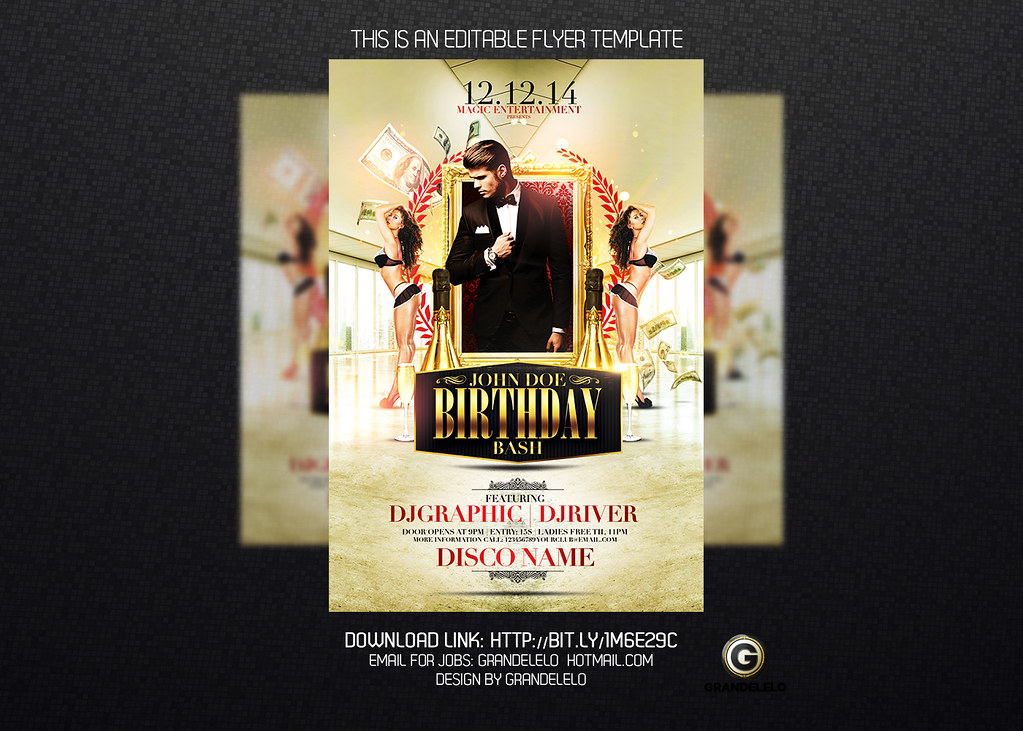 Classy Birthday Bash Flyer Template Psd Download Here Gra Flickr