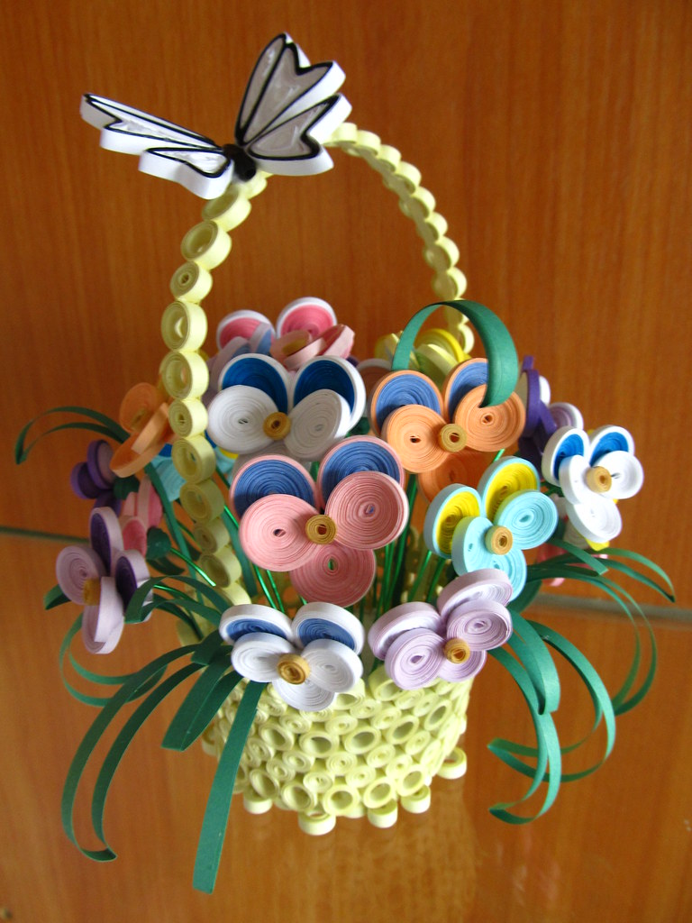Captivating ... 3d Handmade Home Decor, Quilled Home Decor, Quilled Basket With Flowers  And Butterfly, 3d