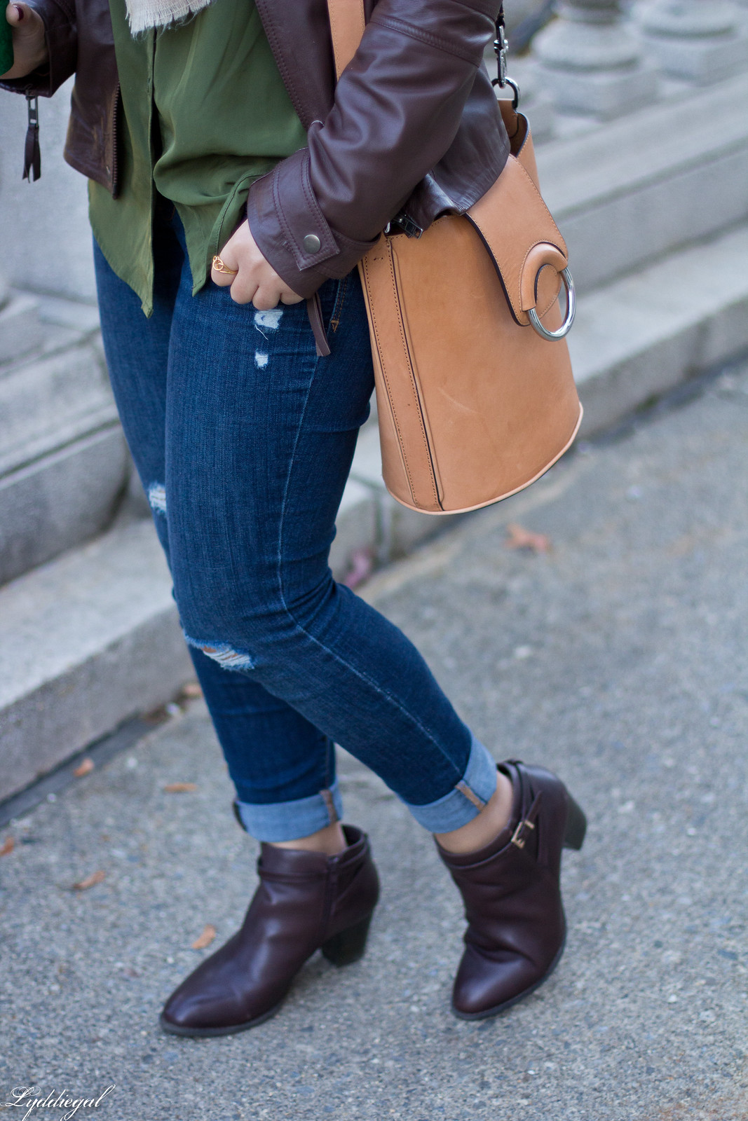 brown leather jacket, plaid blanket scarf, brown booties-5.jpg