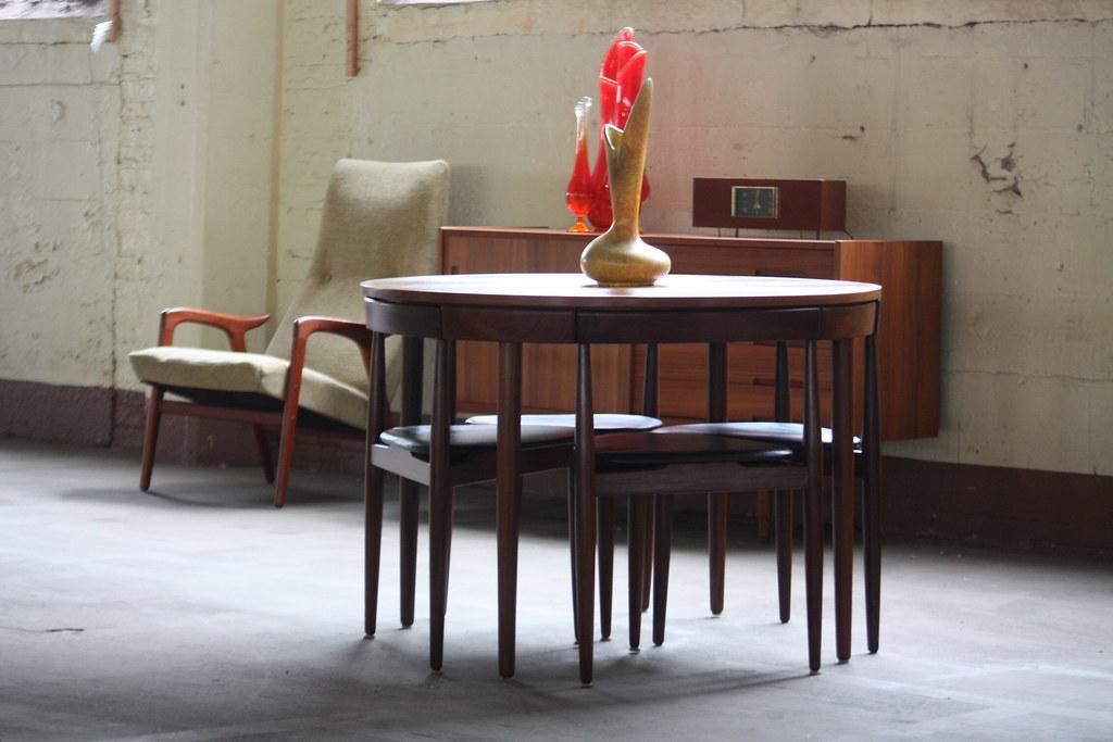 Hans Olsen Teak Roundette Dining Set For Frem Rojle Mobelfabrik (