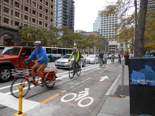 First Downtown Protected Bike Lane Opens on Second Avenue | by Seattle Department of Transportation