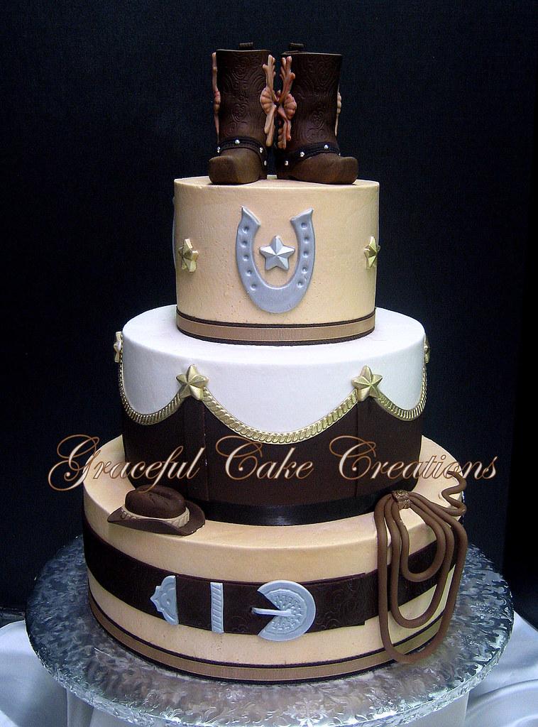 Elegant Western Themed Wedding Cake With Cowboy Boot Cake Flickr