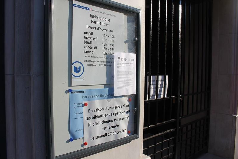 Grève Bibliothèques Paris - Parmentier