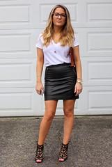 White tshirt & black leather skirt   ejt1977   Flickr
