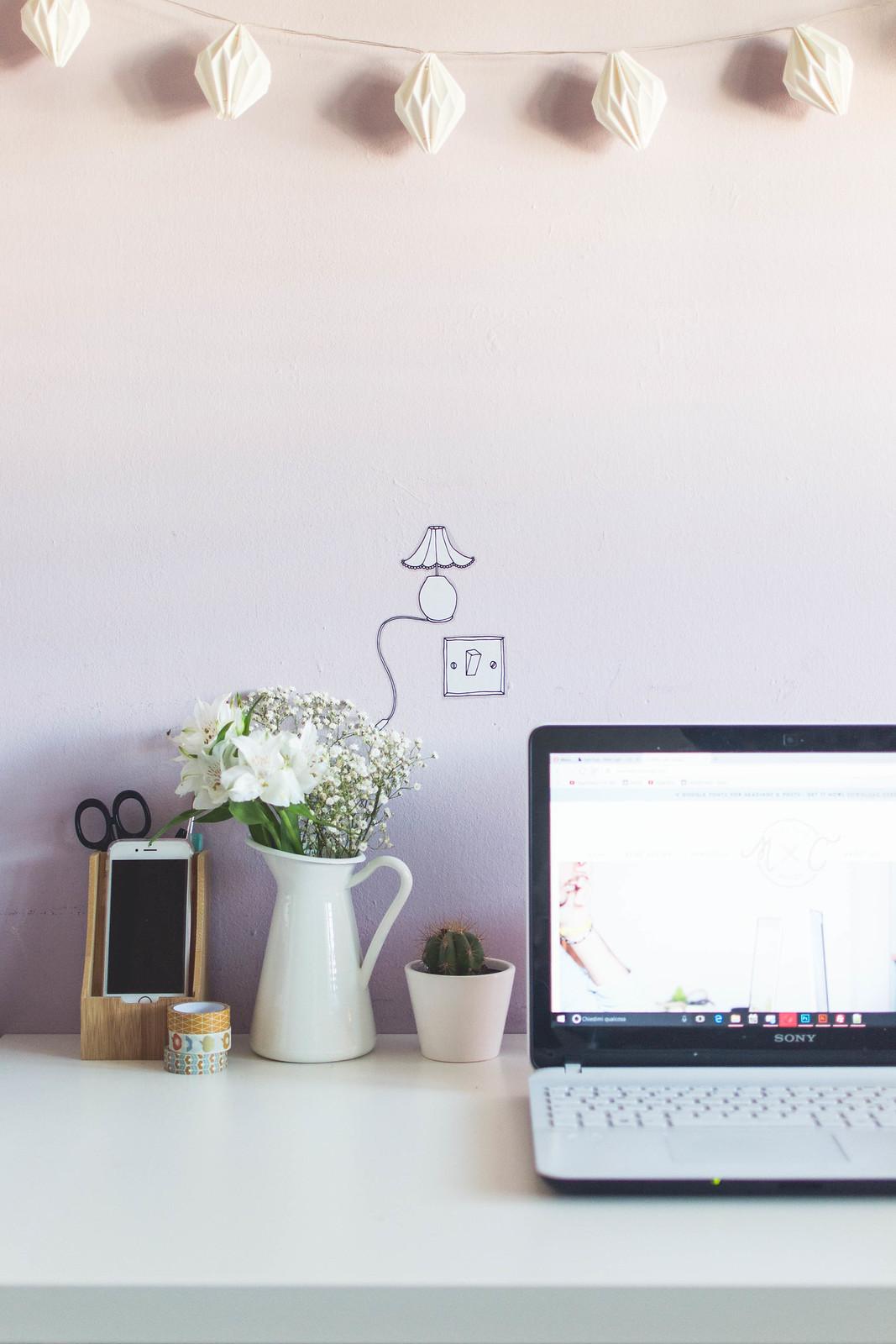 Minimal feminine workspace