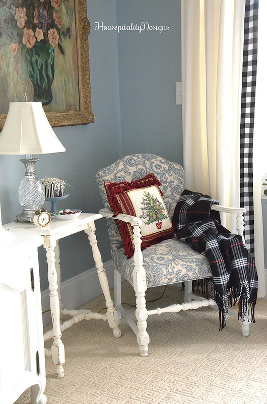 Blue and White Chair-Guest Room-Christmas-Housepitality Designs
