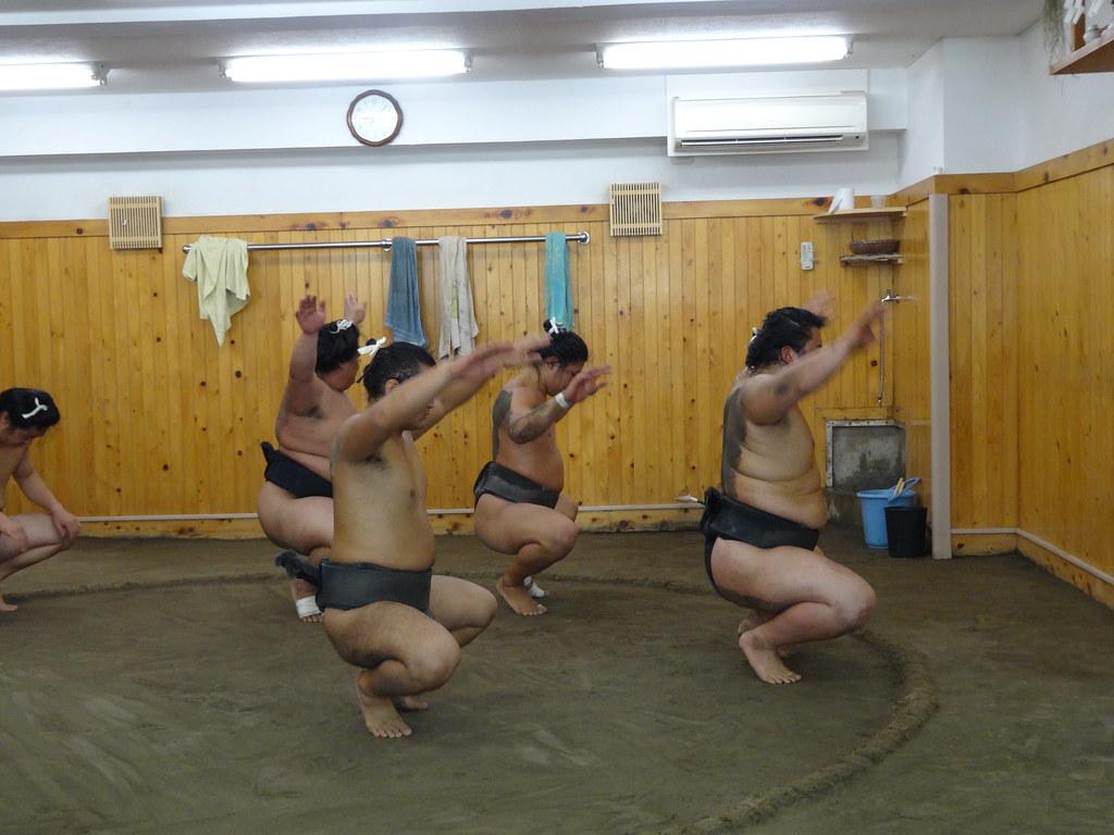 Sumo squats training at Arashio Stable Tokyo Japan